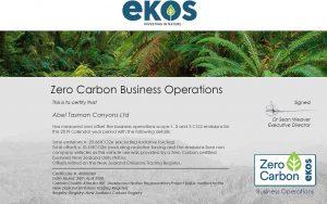 Abel Tasman Zero Carbon certified
